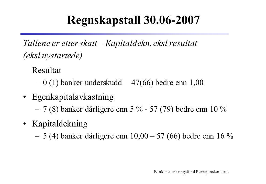 Regnskapstall 30.06-2007 Tallene er etter skatt – Kapitaldekn. eksl resultat. (eksl nystartede) Resultat.