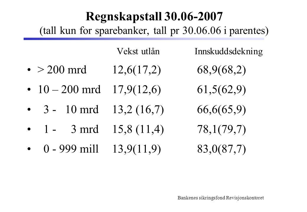 Regnskapstall 30. 06-2007 (tall kun for sparebanker, tall pr 30. 06