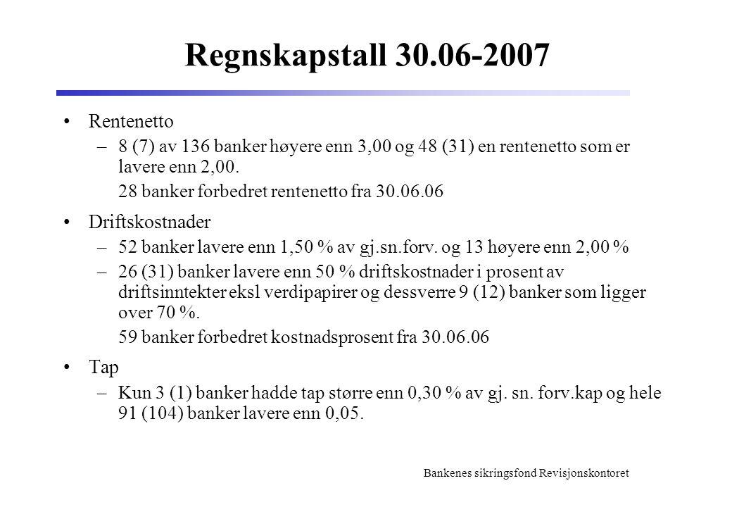 Regnskapstall 30.06-2007 Rentenetto Driftskostnader Tap