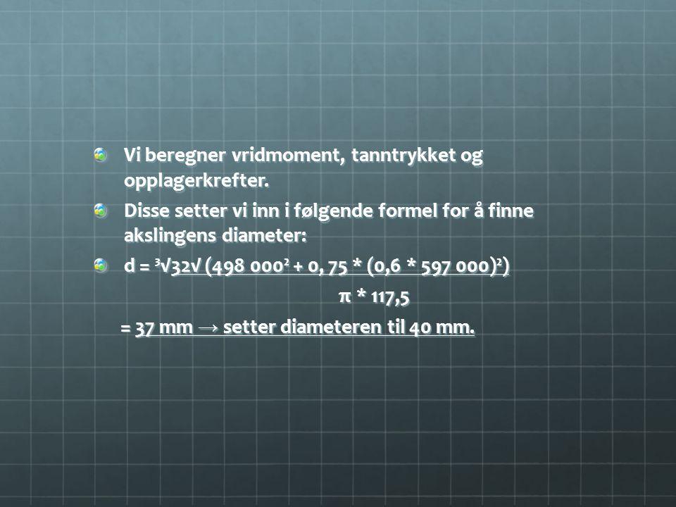 Vi beregner vridmoment, tanntrykket og opplagerkrefter.