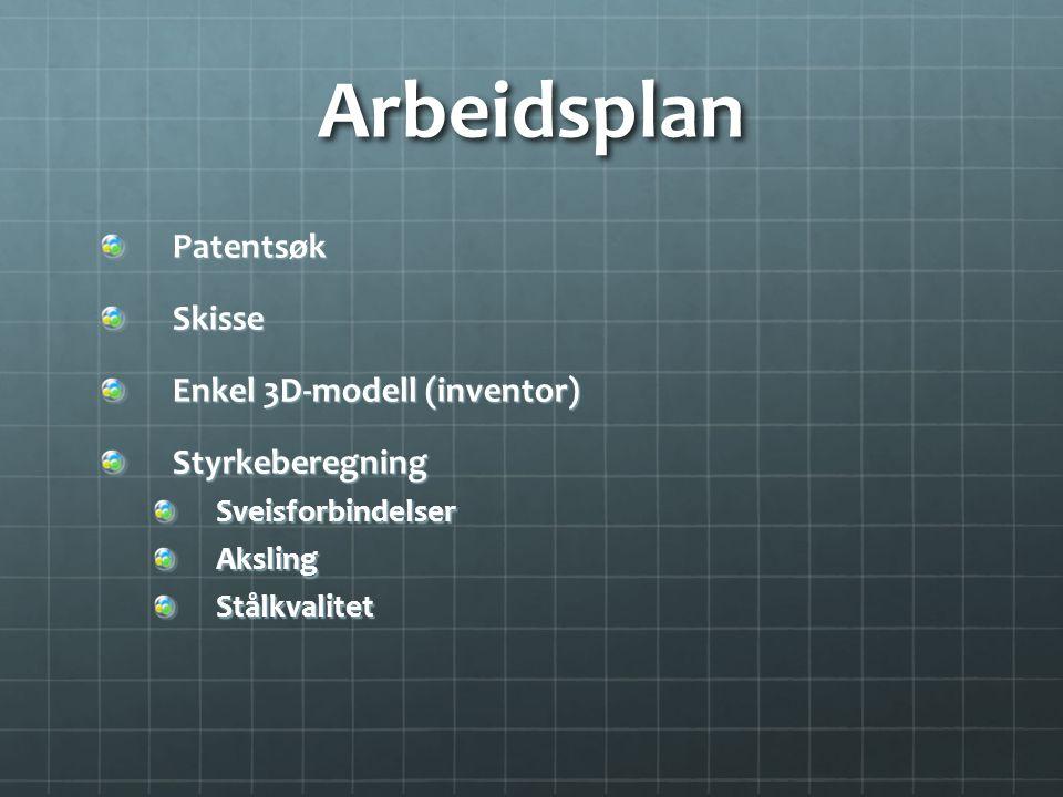 Arbeidsplan Patentsøk Skisse Enkel 3D-modell (inventor)