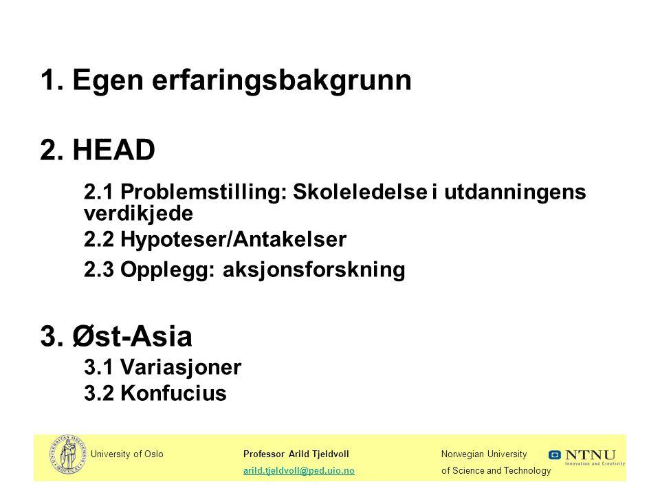 1. Egen erfaringsbakgrunn 2. HEAD