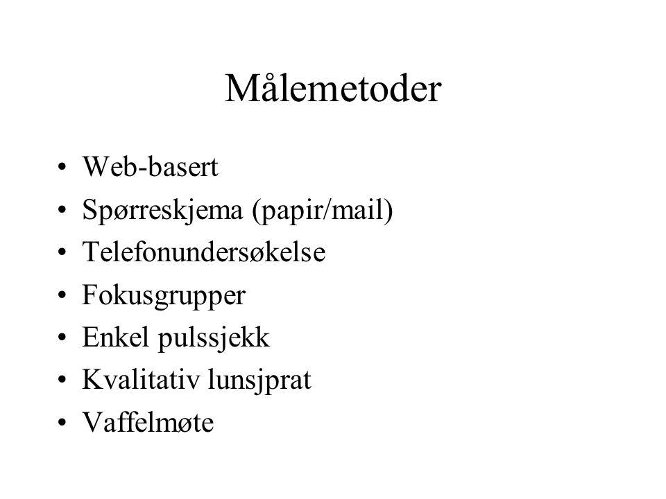 Målemetoder Web-basert Spørreskjema (papir/mail) Telefonundersøkelse