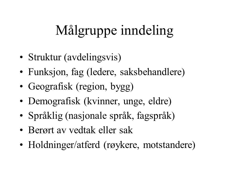 Målgruppe inndeling Struktur (avdelingsvis)