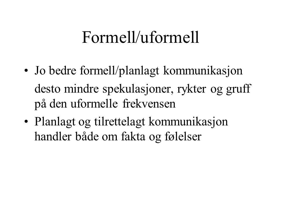 Formell/uformell Jo bedre formell/planlagt kommunikasjon