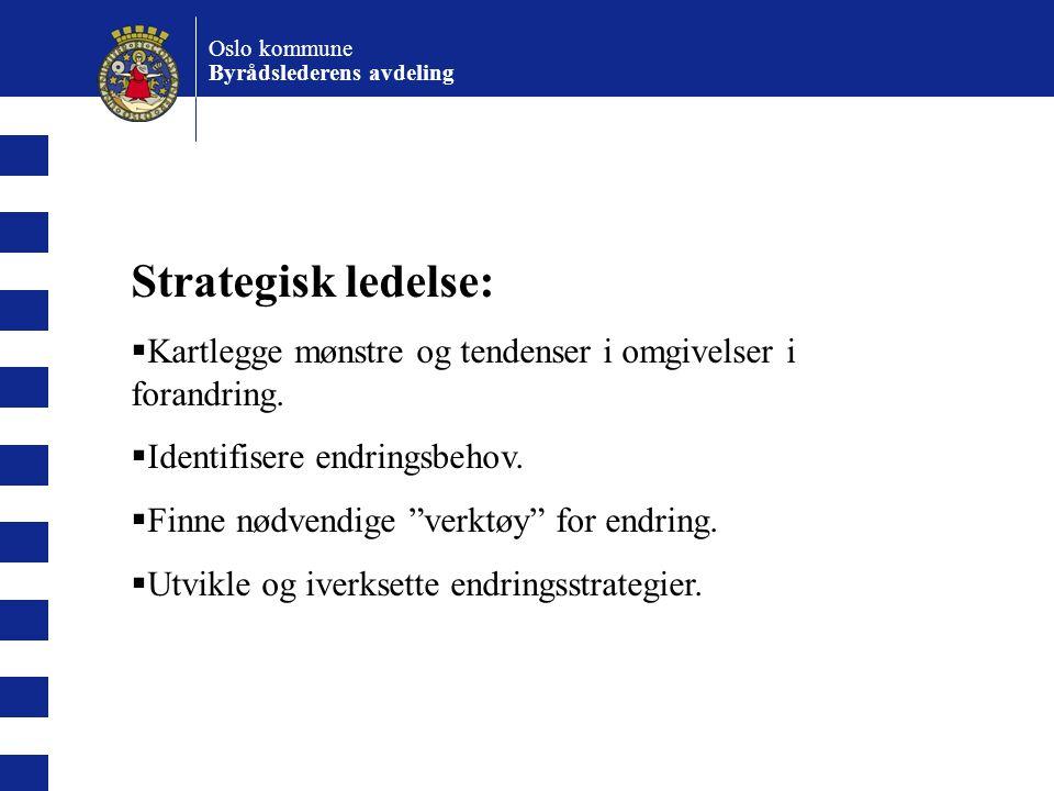 Oslo kommune Byrådslederens avdeling. Strategisk ledelse: Kartlegge mønstre og tendenser i omgivelser i forandring.
