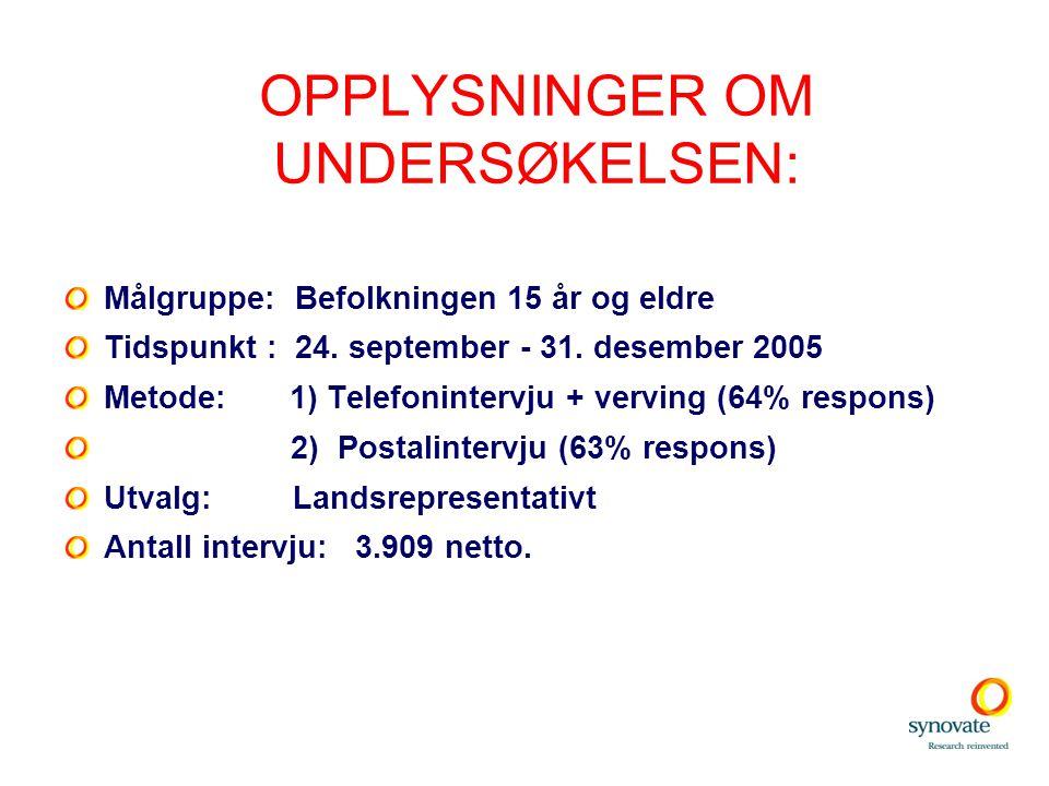 OPPLYSNINGER OM UNDERSØKELSEN: