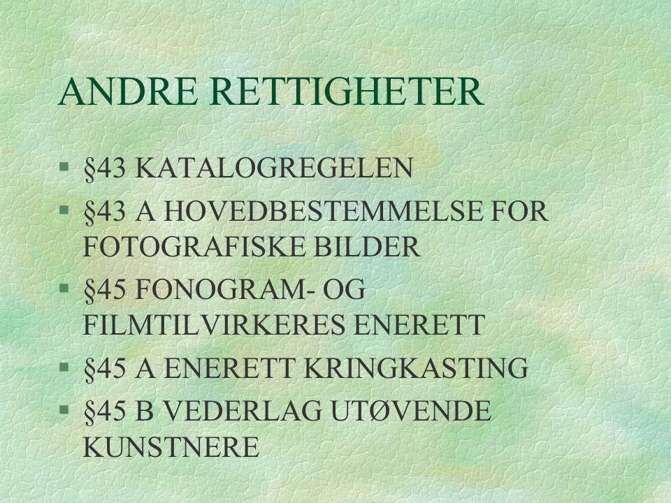 ANDRE RETTIGHETER §43 KATALOGREGELEN
