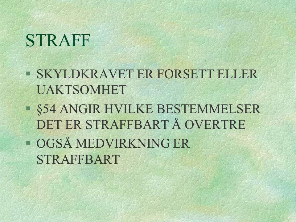 STRAFF SKYLDKRAVET ER FORSETT ELLER UAKTSOMHET