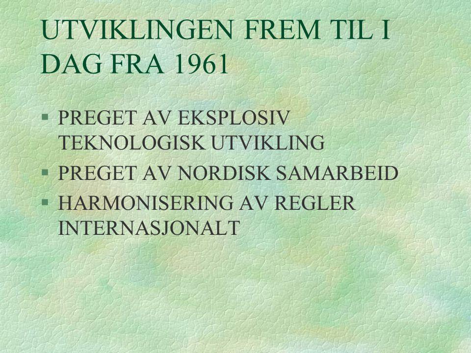 UTVIKLINGEN FREM TIL I DAG FRA 1961