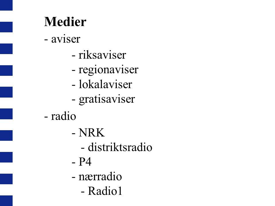 Medier - aviser - riksaviser - regionaviser - lokalaviser