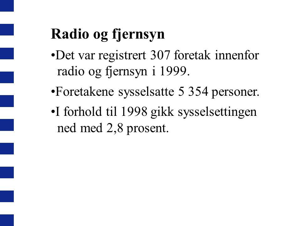 Radio og fjernsyn Det var registrert 307 foretak innenfor radio og fjernsyn i 1999. Foretakene sysselsatte 5 354 personer.