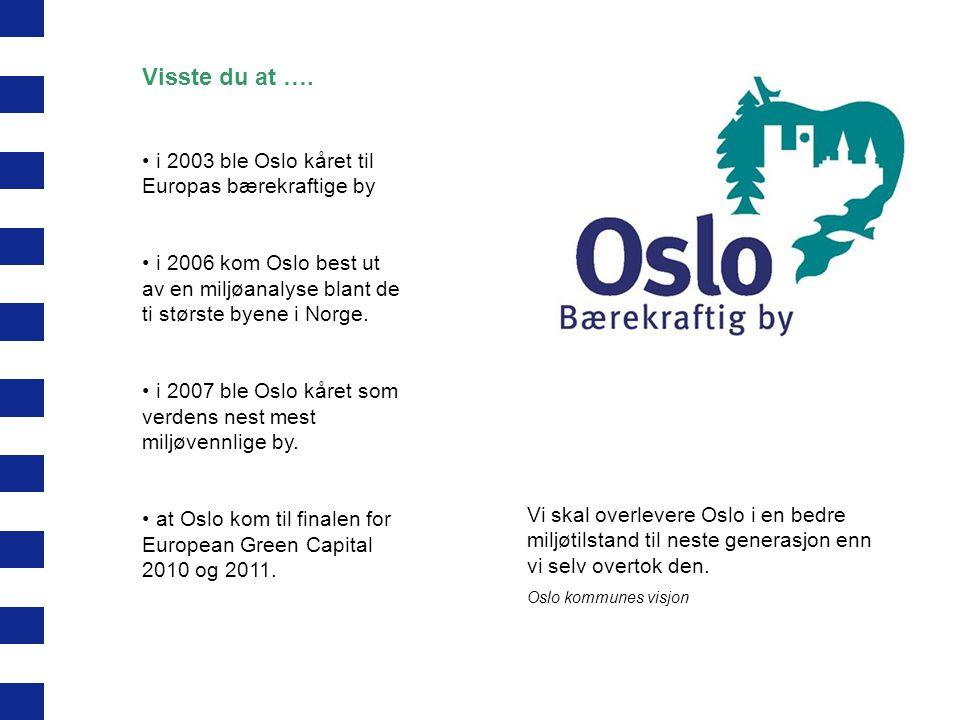 Visste du at …. i 2003 ble Oslo kåret til Europas bærekraftige by