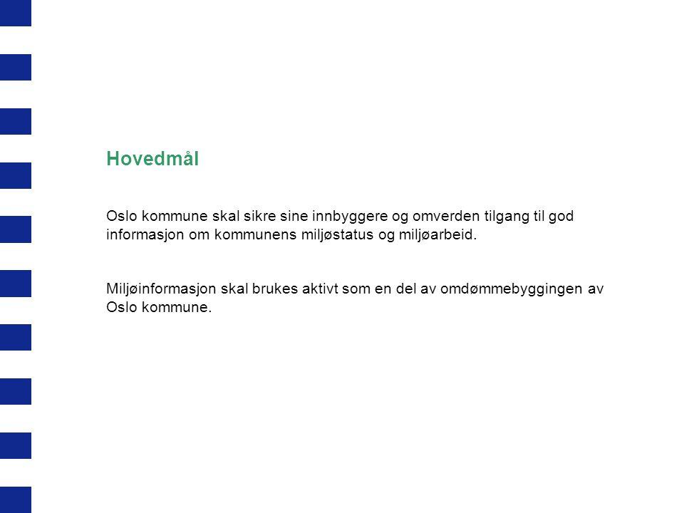 Hovedmål Oslo kommune skal sikre sine innbyggere og omverden tilgang til god informasjon om kommunens miljøstatus og miljøarbeid.