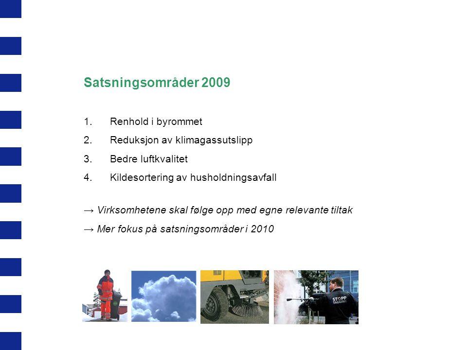 Satsningsområder 2009 Renhold i byrommet Reduksjon av klimagassutslipp