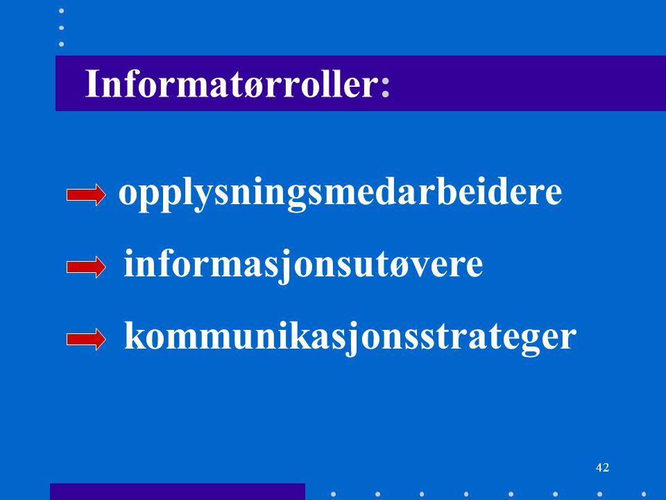 Informatørroller: opplysningsmedarbeidere informasjonsutøvere kommunikasjonsstrateger