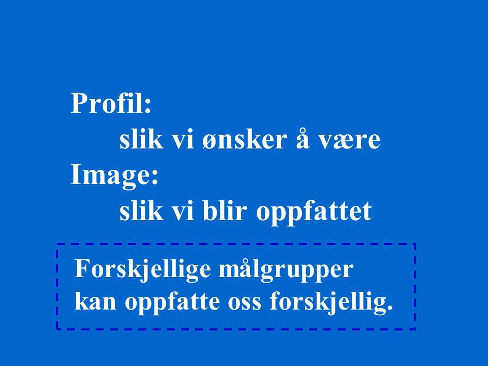 Profil: slik vi ønsker å være Image: slik vi blir oppfattet