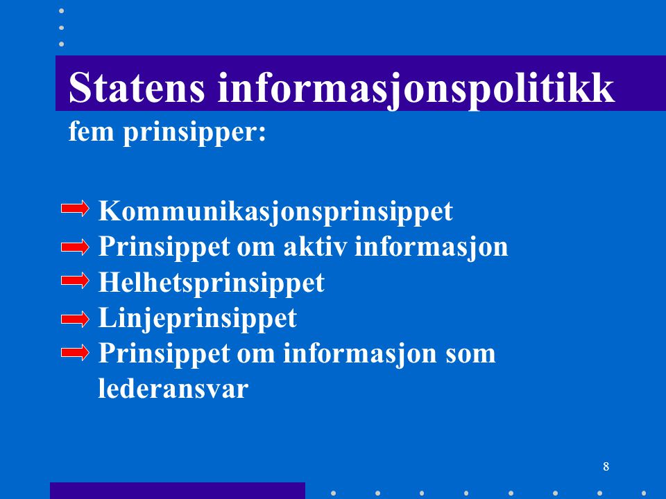 Statens informasjonspolitikk fem prinsipper: Kommunikasjonsprinsippet Prinsippet om aktiv informasjon Helhetsprinsippet Linjeprinsippet Prinsippet om informasjon som lederansvar