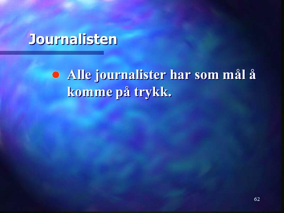 Journalisten Alle journalister har som mål å komme på trykk.