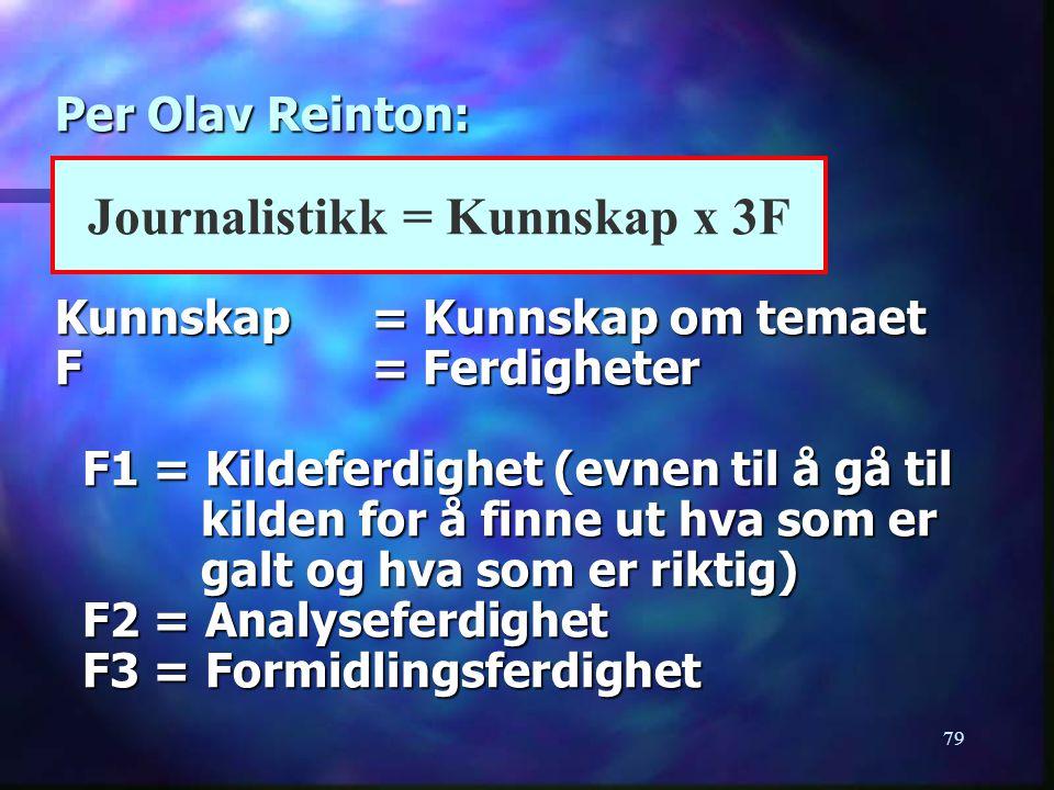 Journalistikk = Kunnskap x 3F