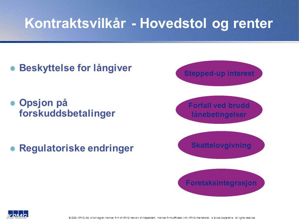 Kontraktsvilkår - Hovedstol og renter