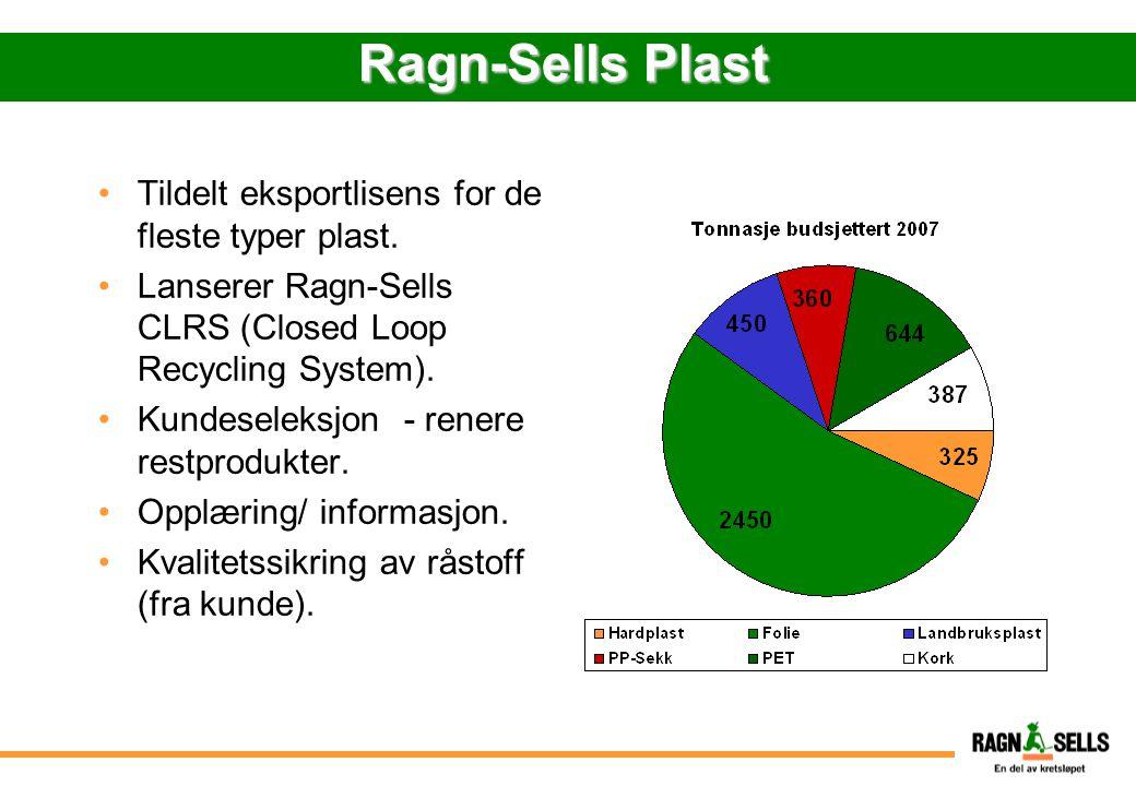 Ragn-Sells Plast Tildelt eksportlisens for de fleste typer plast.