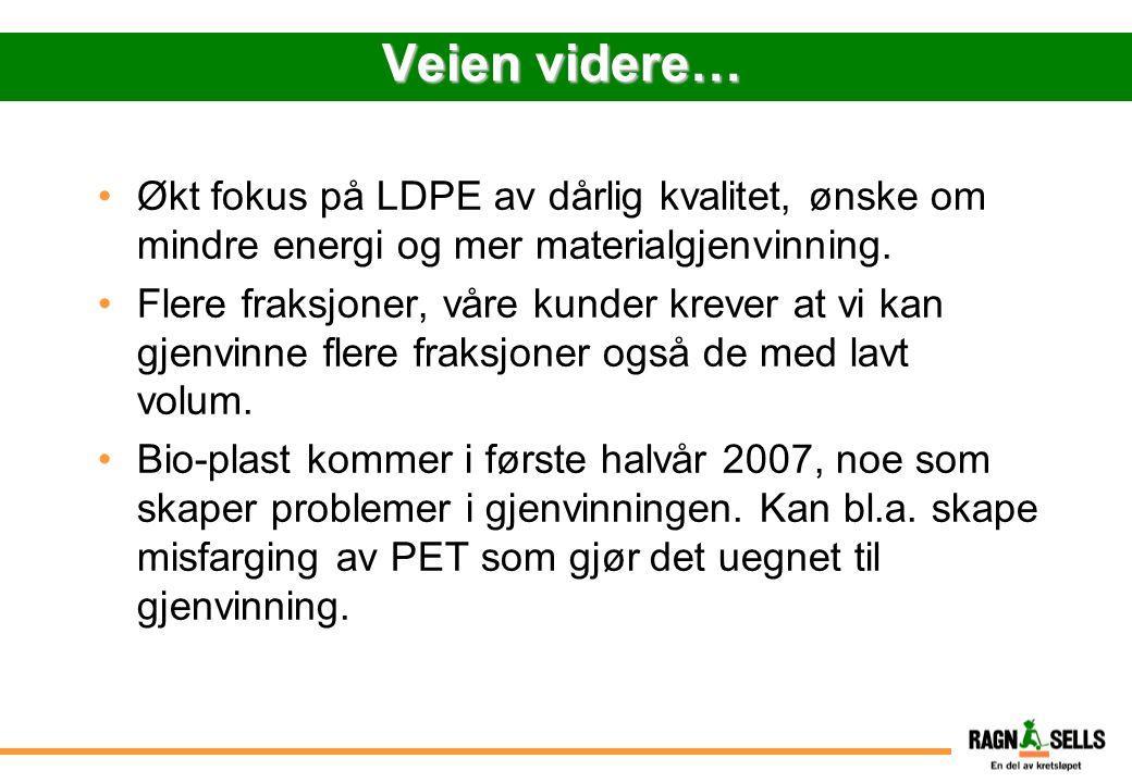 Veien videre… Økt fokus på LDPE av dårlig kvalitet, ønske om mindre energi og mer materialgjenvinning.