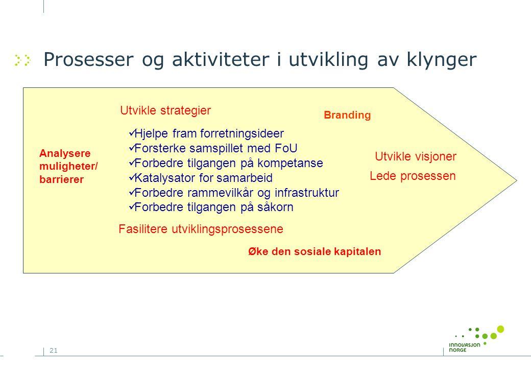 Prosesser og aktiviteter i utvikling av klynger