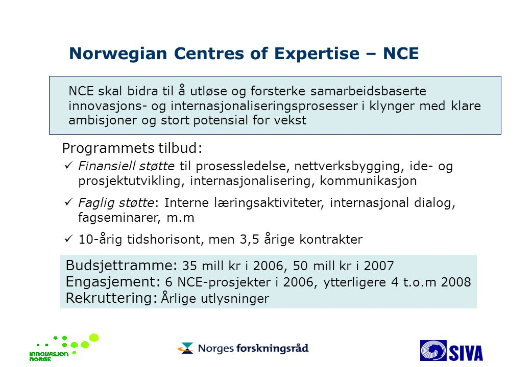 Norwegian Centres of Expertise – NCE