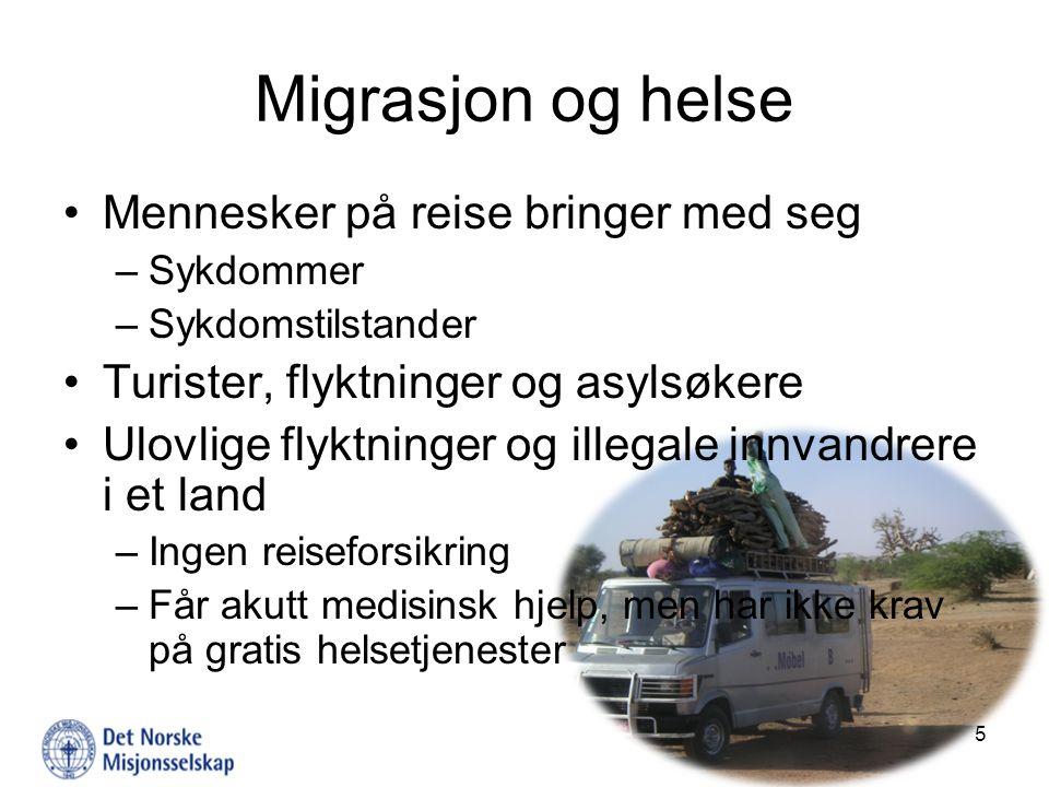 Migrasjon og helse Mennesker på reise bringer med seg