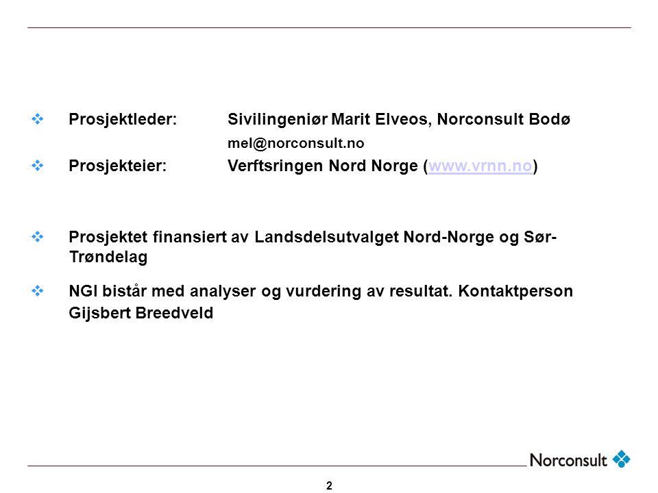 Prosjektleder: Sivilingeniør Marit Elveos, Norconsult Bodø
