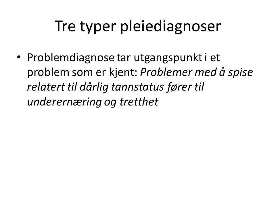 Tre typer pleiediagnoser