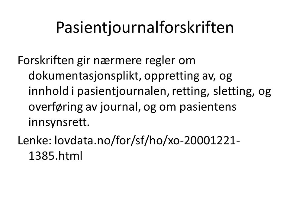 Pasientjournalforskriften