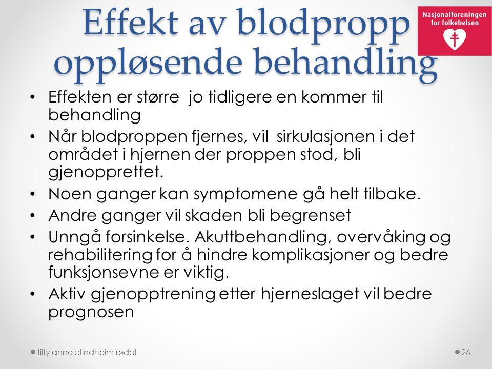 Effekt av blodpropp oppløsende behandling