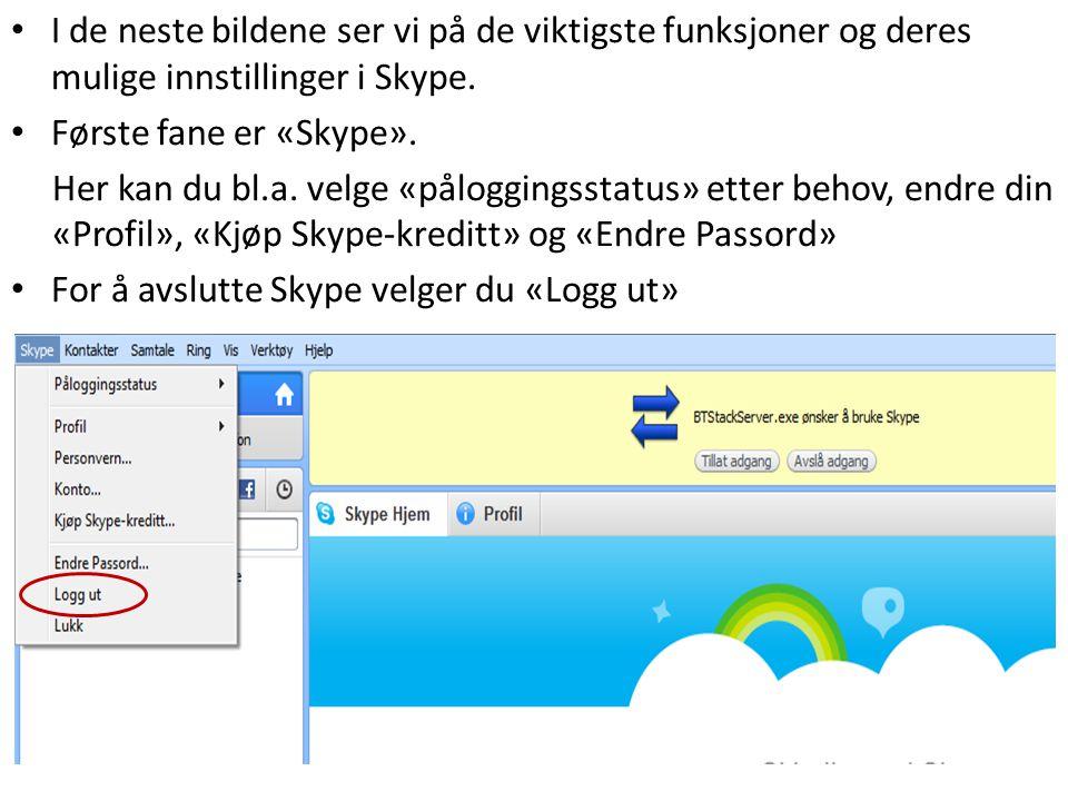 I de neste bildene ser vi på de viktigste funksjoner og deres mulige innstillinger i Skype.