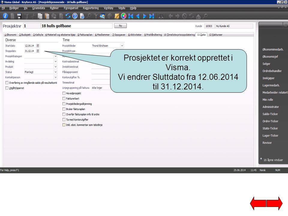 Prosjektet er korrekt opprettet i Visma.