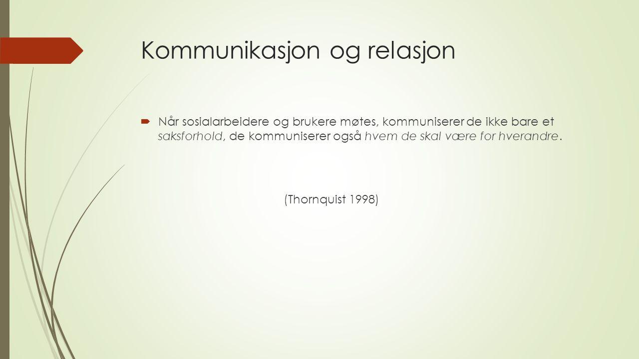Kommunikasjon og relasjon