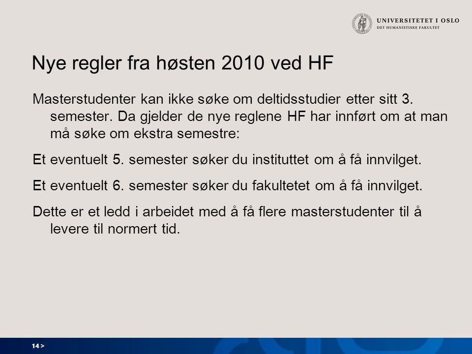 Nye regler fra høsten 2010 ved HF