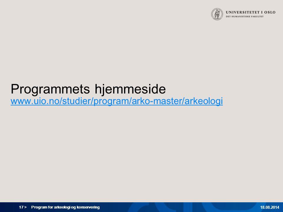 Programmets hjemmeside www. uio