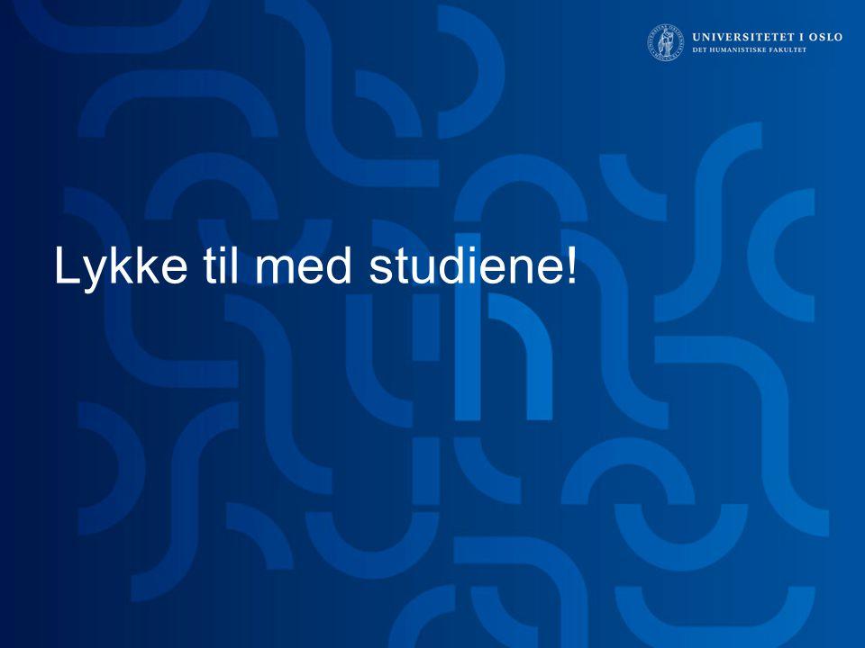 Lykke til med studiene! Hei,