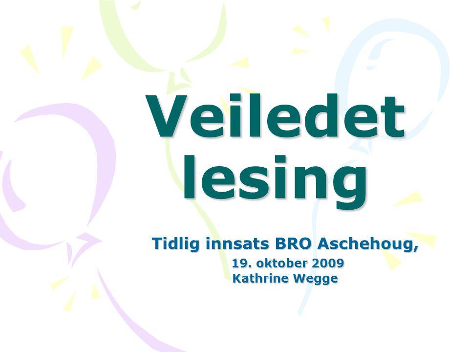 Tidlig innsats BRO Aschehoug, 19. oktober 2009 Kathrine Wegge