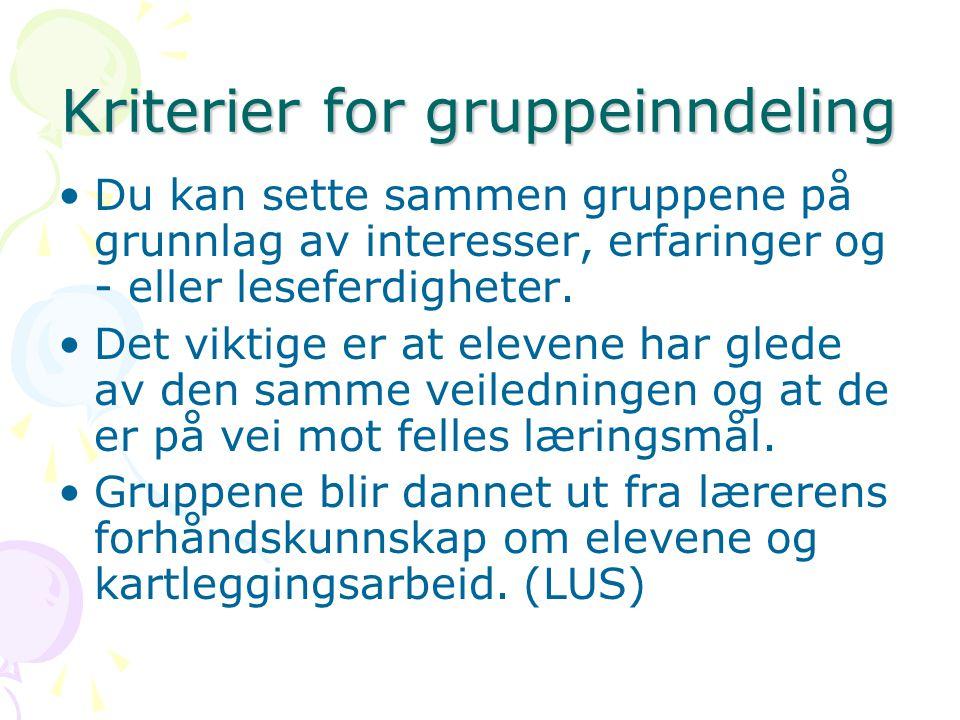 Kriterier for gruppeinndeling