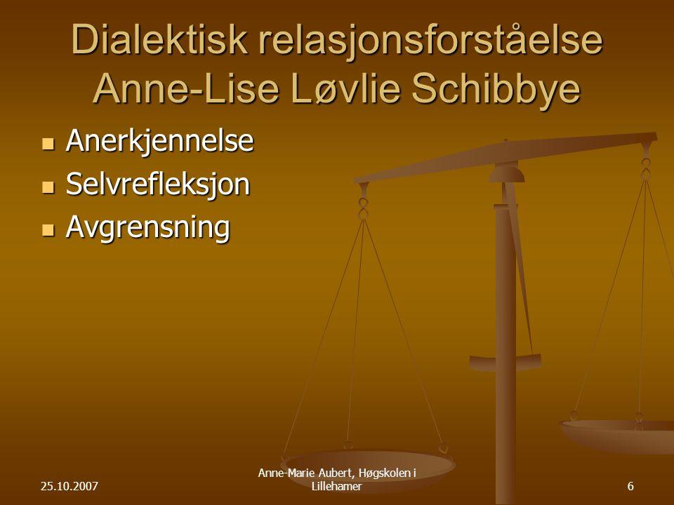 Dialektisk relasjonsforståelse Anne-Lise Løvlie Schibbye