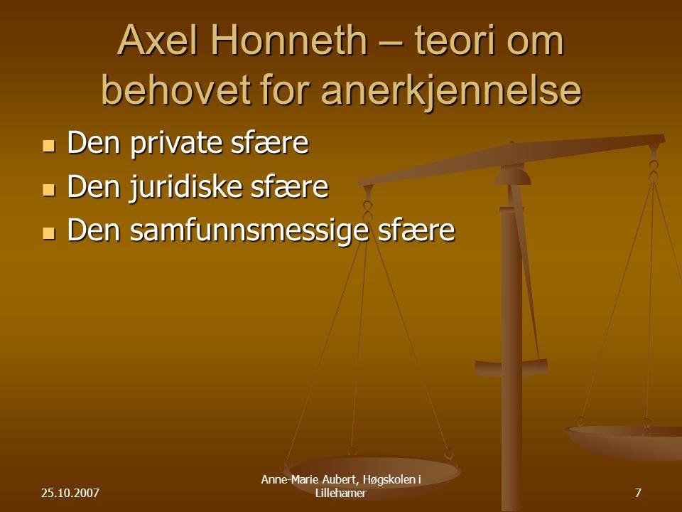 Axel Honneth – teori om behovet for anerkjennelse