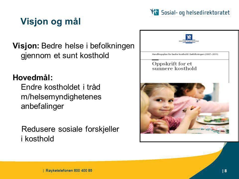 Visjon og mål Visjon: Bedre helse i befolkningen gjennom et sunt kosthold. Hovedmål: Endre kostholdet i tråd m/helsemyndighetenes anbefalinger.