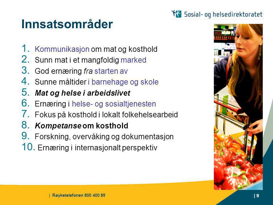 Innsatsområder Kommunikasjon om mat og kosthold