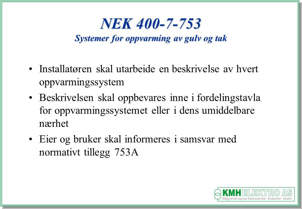NEK 400-7-753 Systemer for oppvarming av gulv og tak