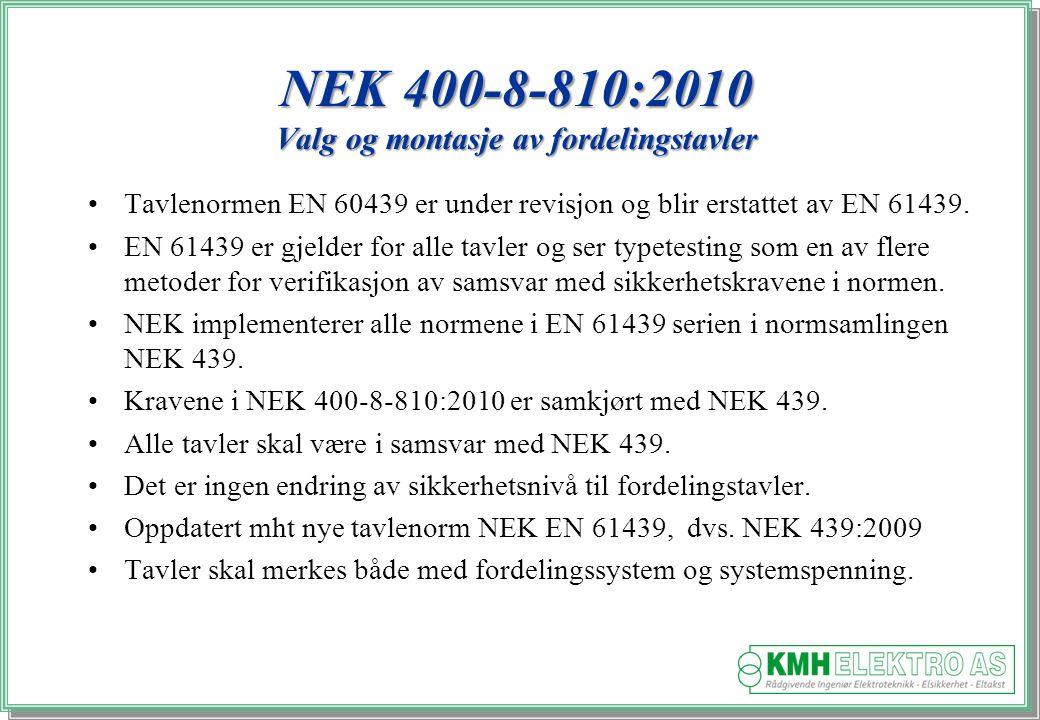 NEK 400-8-810:2010 Valg og montasje av fordelingstavler