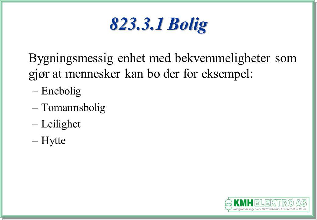 823.3.1 Bolig Bygningsmessig enhet med bekvemmeligheter som gjør at mennesker kan bo der for eksempel:
