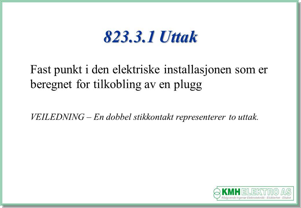 823.3.1 Uttak Fast punkt i den elektriske installasjonen som er beregnet for tilkobling av en plugg.